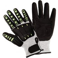Safety Gloves, Anti-Impact Pads, Cut Resistant, ANSI Cut Level A4, Seamless Liner